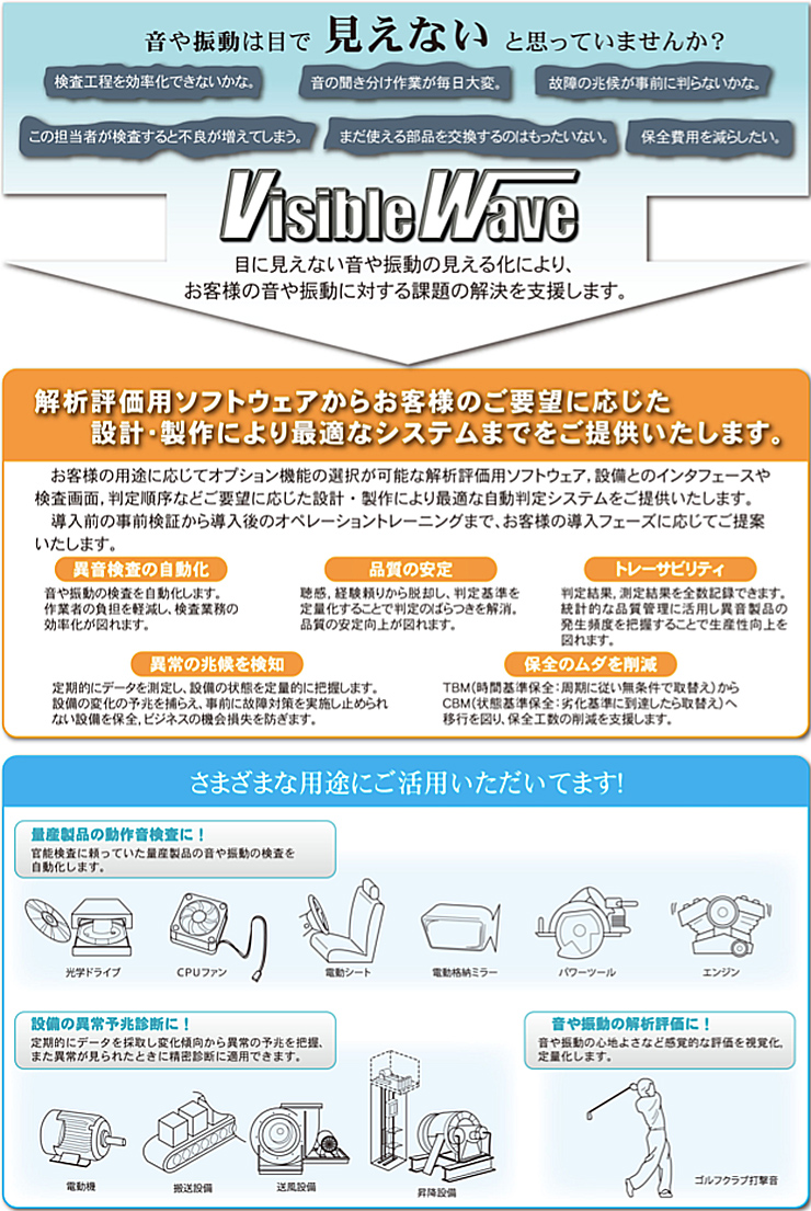 音響振動診断システム『Visible Wave』